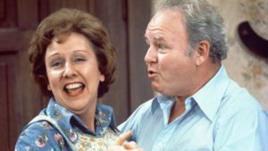 Jean Stapleton as Edith Bunker and Carroll O'Connor as Archie Bunker on the CBS television network series All in the Family in 1976.